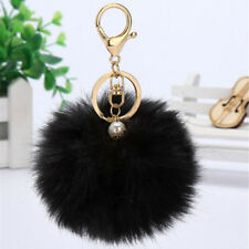 Black Habbit Fur Pom Pom bag charm Keychain With Flower Cell Phone Women Keyring