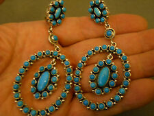 """EMMA LINCOLN turquoise stelring silver earrings 3 5/8"""""""