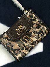 NWT COACH Madison Ocelot Mini Skinny 46717 Coin Case /Key Ring Chain