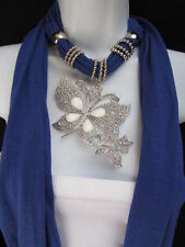 NEW WOMEN BLUE FASHION NECKLACE SOFT FABRIC SCARF BUTTERFLY PENDANT WHITE BEADS