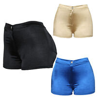 New Womens Black Blue Gold Shiny Metallic Hot Pants Wet Look Sexy Mini Shorts