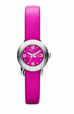 Marc Jacobs MBM1288 Mini Amy Dinky Neon Pink Silver Leather 17MM NEW AUTHENTIC
