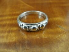 Round Raised Design Band Sterling Silver 925 Ring Size 7