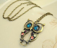 Fashion Vintage Rhinestone Crystal Big OWL Pendant Long Chain Necklace