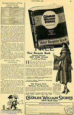 1922 Vintage Print Ad of Charles William Stores Bargain Book New York