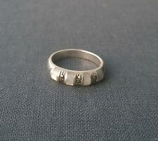 Unusual old 925 Sterling silver Inlaid natural MOP & Marcasite dress ring size N