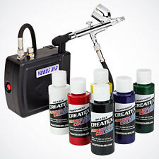 6 Createx Primary Color Air Compressor Dual-Action Gun Airbrush Kit Hobby Paint