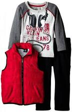 Calvin Klein Toddler Boys Red Puffy Vest 3pc Pant Set Size 4T $79.50