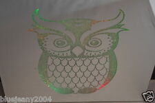 Owl Square LED Wall Mountable Colour Changing Glass Mirror Plaque Battery