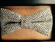 New Tweed Flecked Herringbone,double layer, Brown bow tie. Excellent Quality.