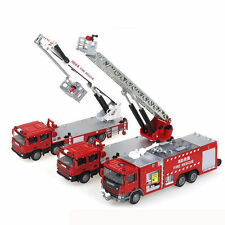Three KDW 1:50 Scale Diecast Fire Trucks Vehicle Cars Model Combination Toys