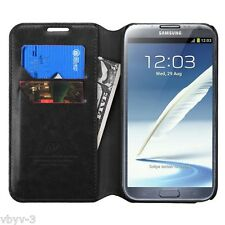 For Samsung N7100 Galaxy Note 2 II Leather Flip Wallet Case Cover Stand BLACK
