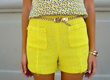 ZARA YELLOW BOUCLE TWEED FANTASY shorts size xs xsmall high waist bnwt