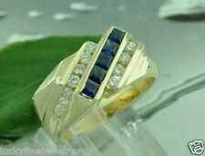 1.40 CT MENS  DIAMOND & SAPPHIRE RING 14K yellow gold 8.70 GRAMS MADE IN USA