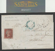MS1077 1848 GB MANCHESTER penny red cover SALFORD UDC + MISSENT TO BIRMINGHAM