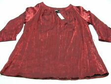 AVENUE - RED - RAYON/POLYESTER BLEND - 18/20 SIZE BLOUSE SHIRT TOP!