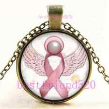 Vintage Angel Pink Breast Cancer Awareness Cabochon Glass Bronze Necklace