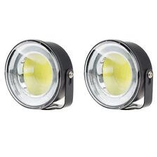2X 12V COB White LED DRL Daylight Head Lamp Super DC Car Daytime Running Light