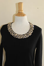 Neiman Marcus Black Silver Studded Neck 100% Cashmere Sweater Dress Sz M