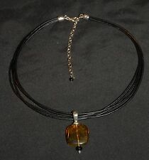 SILPADA - N1285 - Black Leather Necklace Onyx SS Amber Pendant - RET
