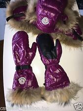 Moncler Authentic Women Shiny Purple Gloves in Real Fur and Hood Size S