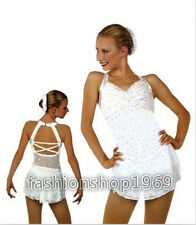 New Ice Figure Skating Dress  Baton Twirling Dress white For Competitio xx208
