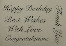 Unmounted rubber stamp Happy Birthday, Best Wishes, With Love,Congrat, Thank You