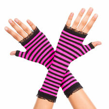 Punk Goth Opaque Striped Fingerless Gloves Halloween Witch Costume Arm Warmers