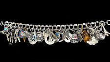 1930's-1950's Sterling Charm Bracelet Beau Sterling Some Move 57 Grams