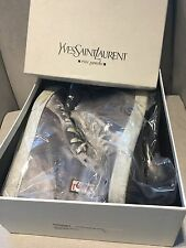 YSL Men's Rolling High Top Satin Sneaker Trainer Argento (silver) Size 43