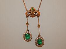ART DECO Handmade Necklace Colombian Emerald Old Mine Cushion Cut Diamond14k