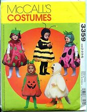 Bee, Duck, Jack-o-Lantern, Berries - Toddler Costume Pattern - Sizes 1-4 - Uncut