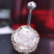 Navel Belly Bars white Crystal Dangly Body Piercing Belly Button Ring flower