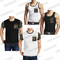 MENS JUNGLE ARMY TRIM T SHIRT HUNTING CAMOUFLAGE COMBAT MILITARY POCKET TOP VEST