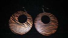 Large Wood Hoop Circular Brown Animal Print Black Stripes Earrings 2-1/2 inches