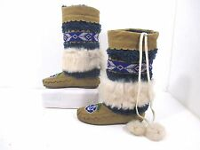 Jeffrey Campbell Havana Last Moccasin Beaded Flower Rabbit Fur Boots Sz 6M