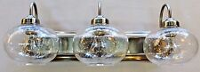 New 3 light  Brushed Nickel vanity bathroom wall light clear seeded round glass