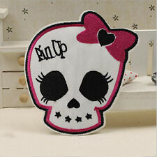 Embroidered Sew Iron on Patch Badge Cute Pink Bow Crossbones Skull Bag Applique
