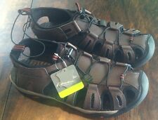 NWT Men's Brown EDDIE BAUER Leather Troy Bump Toe Sandal Shoes Size 13