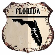 BP0125 HOME FLORIDA MAP Shield Rustic Chic Sign Bar Shop Home Decor Gift