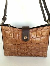 Giorgio Deni Leather Handmade  Bag Croc Two Tone European Designer  Fashion Chic
