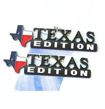 2x OEM TEXAS Edition Emblem for Ford F150 SIERRA Silverado GMC YU Matte Black Wh