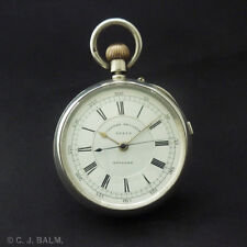 Quality Sterling Silver English Lever Keyless Chronograph Pocket Watch. 1887
