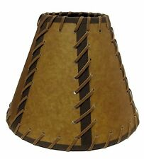 "FAUX OILED KRAFT LACED 9"" DOUBLE- LACED LAMP SHADE- REG CLIP   OKL-09DL"