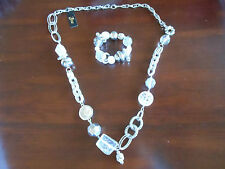 White & Silver Long Necklace & Matching Braclet Jewelry Set-New