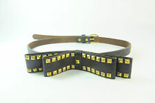 LADIES BROWN CHUNKY RIBBON WITH GOLD STUDS SIMPLE STATEMENT BELT UNIQUE (SC6)