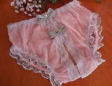 "Sensual  Sheer Pink Nylon Crotchless  Panties. Sissy CD/TV . 28""-44"""