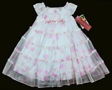 Baby BISCOTTI Girls White Pink Heart Ruffle Rosette Dress Gown Size 4 4T NWT pc