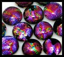 Lot of 12 SURPRISE PINK PURPLE Fused Glass DICHROIC Cabochons NO HOLE Beads