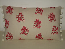 """NEW Kate Forman Agnes Red Linen Fabric 20""""x12"""" Pom Pom Cushion Cover"""